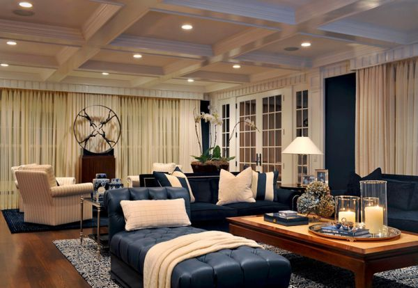 Cream And Blue Hued Rooms Ideas And Inspiration Contemporary Family Room Navy Living Rooms Blue And Cream Living Room