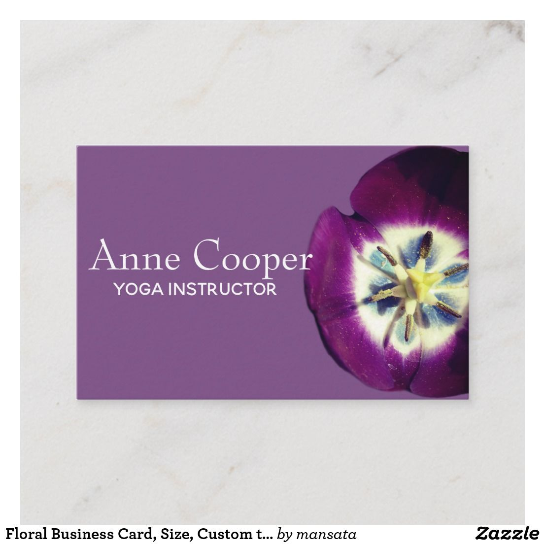 Floral Business Card, Size, Custom text Business Card ...
