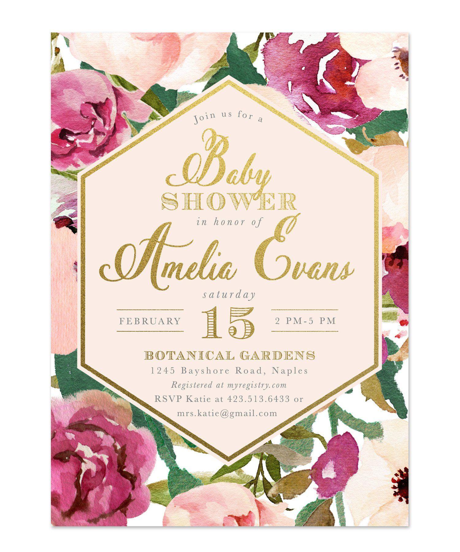 Amelia: Baby Shower Invitation, Burgundy, Blush Pink & Gold Floral ...