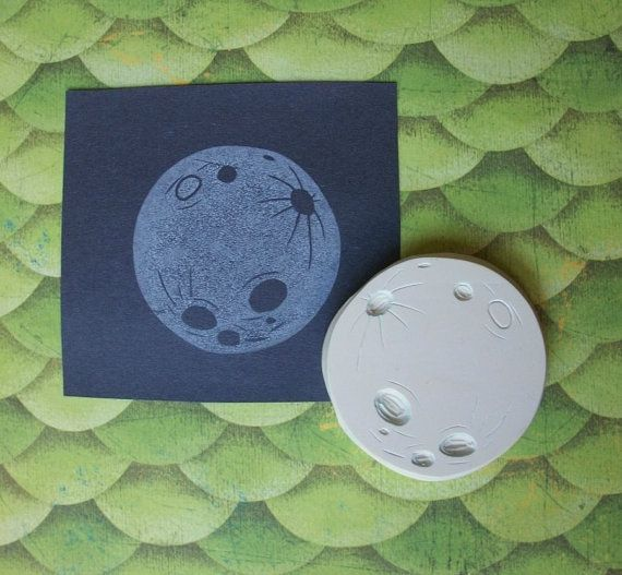 dinner invitations New Year/'s eve. hand carved Moon rubber stamp greeting cards