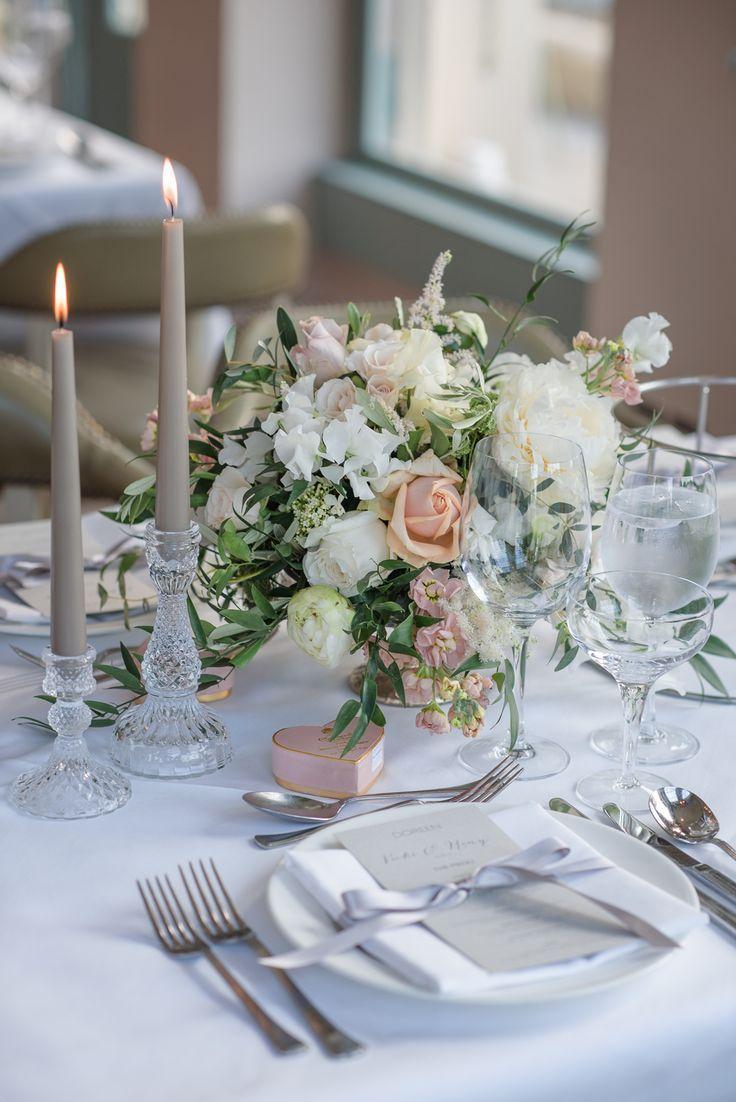 Crystal Candlestick Flowers Floral Blush Peach Cream Table Setting Babington House Wedding Ria Mishaal Photography #Crystal #Candlestick #Flowers #Floral #Blush #Peach #Cream #Table #Setting #wedding