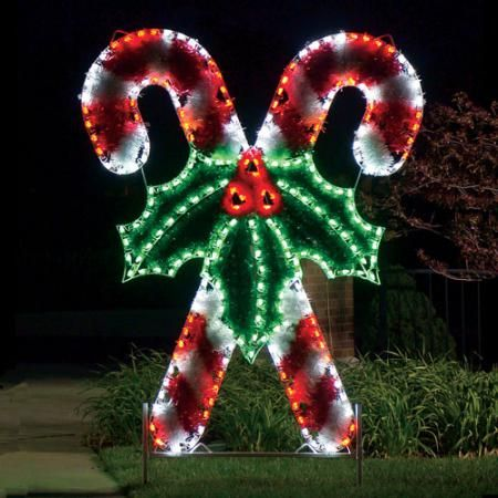 Giant Crossed Candy Canes Led Light Display 8 3 Ft H 1 599 00 Bu