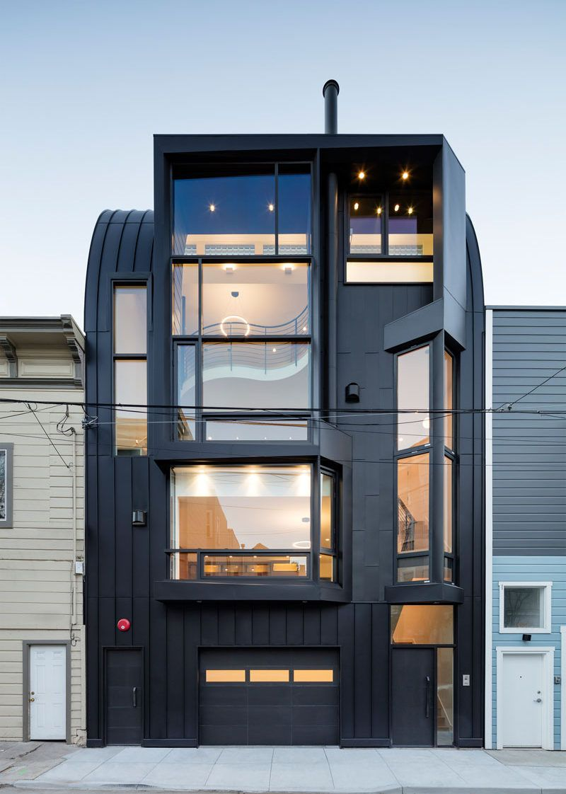 designed by stephen phillips architects, this black apartment
