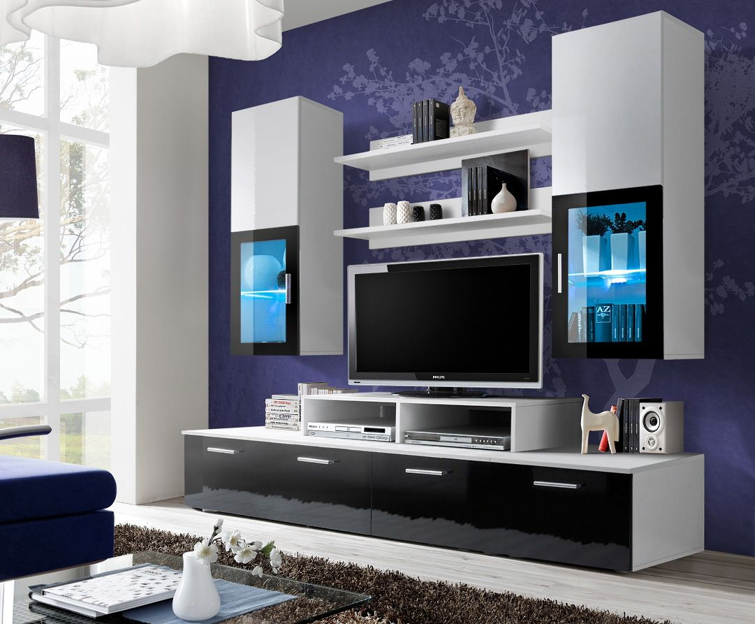 Toledo 2 Black And White High Gloss Wall Unit Entertainment Center  # Meuble Tv Mural Moderne