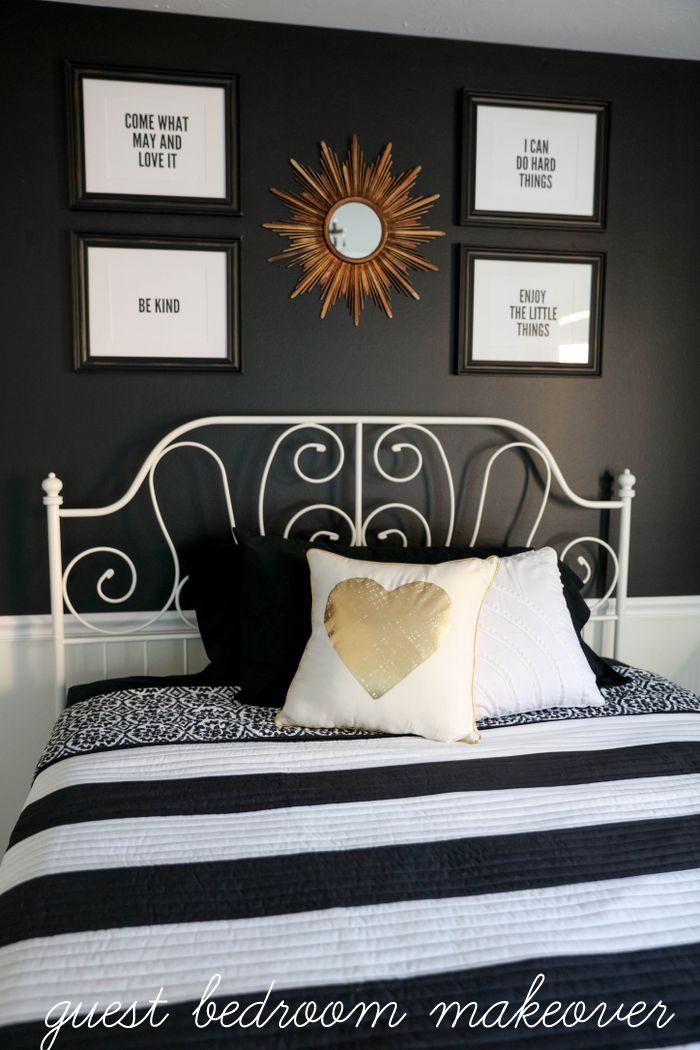 Black White And Gold Guest Bedroom Makeover So Simple Beautiful Ideas To Help Inspire Your Own