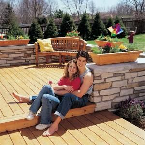 How To Build A Wood And Stone Deck With Images