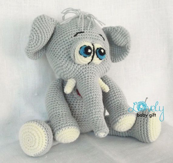 Elephant Crochet Pattern Amigurumi Elephant Stuffed Elephant