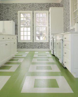 Green White Floor Stencil Kitchen