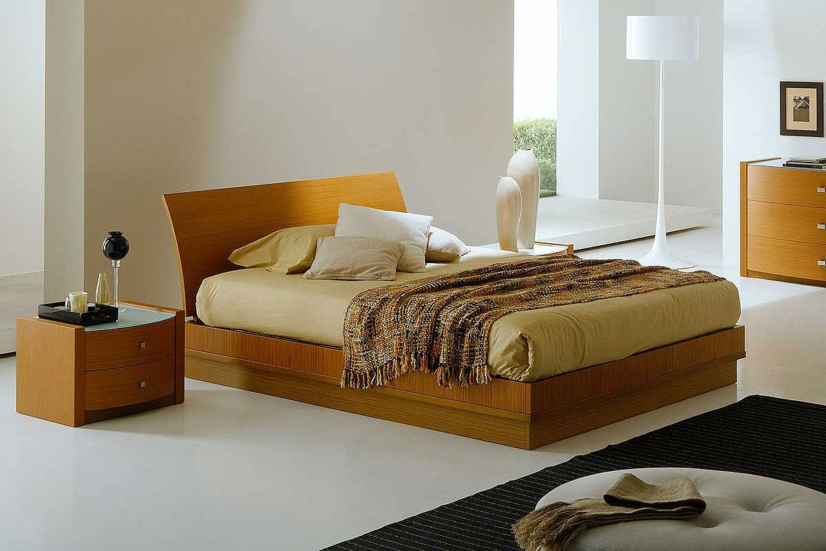 Simple bedroom design ideas with wooden bed furniture with storage