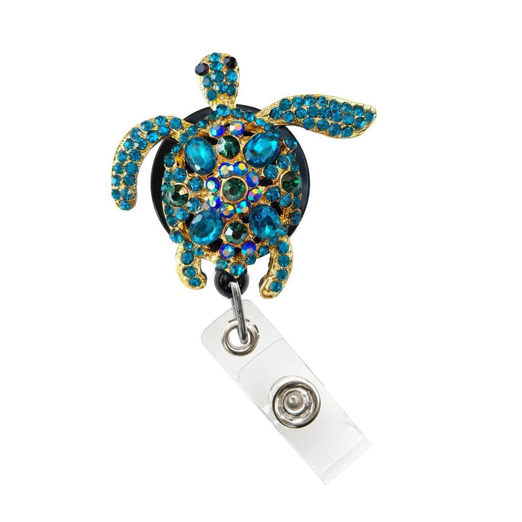 Rhinestone Turquoise Turtle Badge Holder, Badge Clip ...