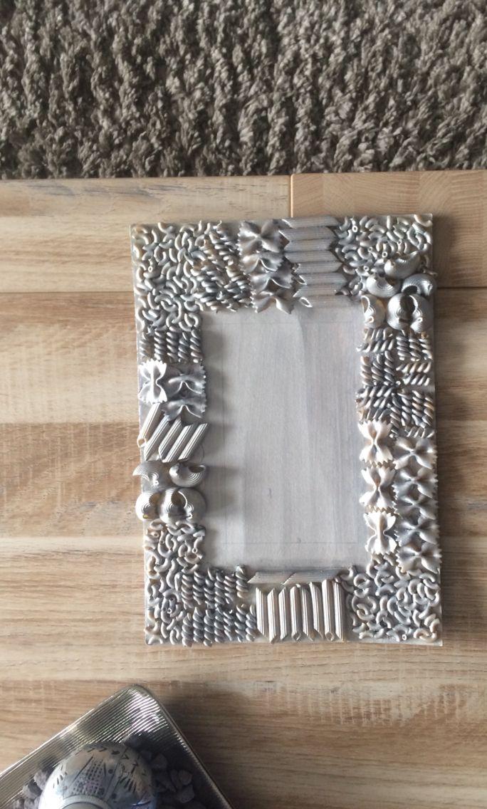 Zelfgemaakt fotolijstje #pasta #zilver | Fotolijst knutselen ...