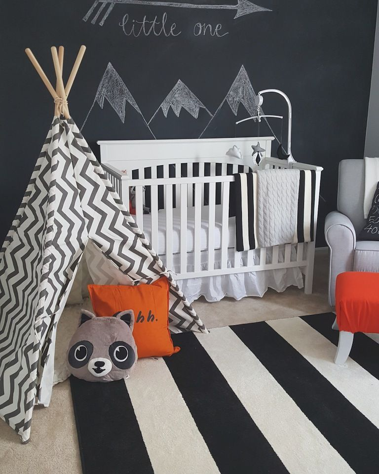 Modern Black White Woodland Themed Nursery Baby Room