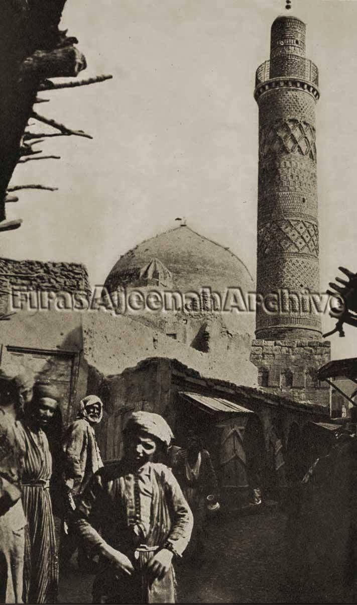 صورة تحفة من الموصل عمرها اكثر من 100 عام يظهر فيها جامع الاغوات الاثري في باب البيض حوالي 1909 Baghdad Iraq Historical Pictures Amazing Art Painting