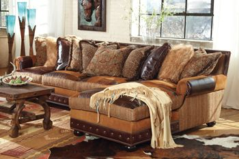 Prairie Patchwork Sectional Sofa Decor Leather Rustic