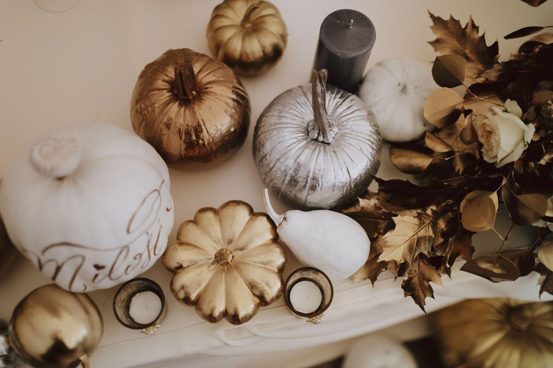 Autumn Glamour Inspirational Shoot With Gilded Pumpkin Decor Pumpkin Decorating Gold Pumpkins Pumpkin Wedding