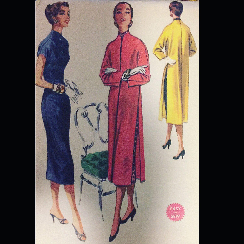 Vintage 50s Chic Cheongsam Asian Inspired Dress Clutch Coat EASY ...