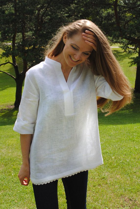 White V Neck Linen Tunic Linen Tunic With Roll Up By