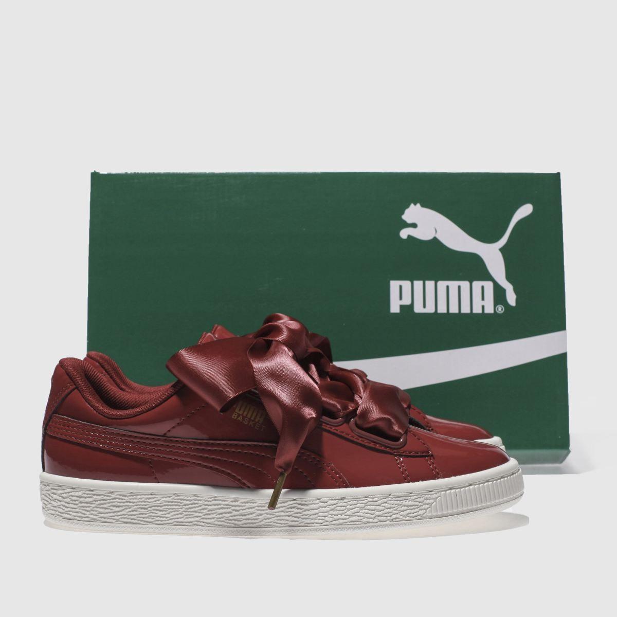puma basket heart maroon