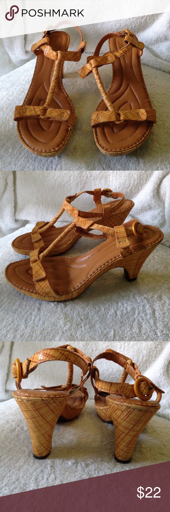 "8 Born Crown Leather Sandals Heels Gorgeous sexy strappy sandals, printed tan leather, 3 1/4"" heel. Barely worn. Size 8/39. Born Shoes Sandals"