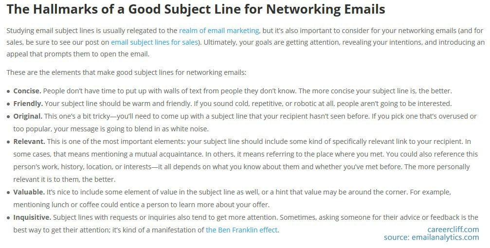 how to write Good Subject Line for Networking Emails