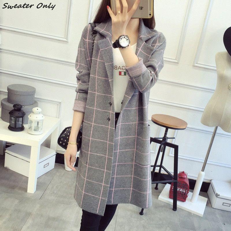 2016 nuova vendita calda delle donne autunno inverno lunghi tratti casuale Cardigan cappotti donna lattice knit maglioni coat 4 colori