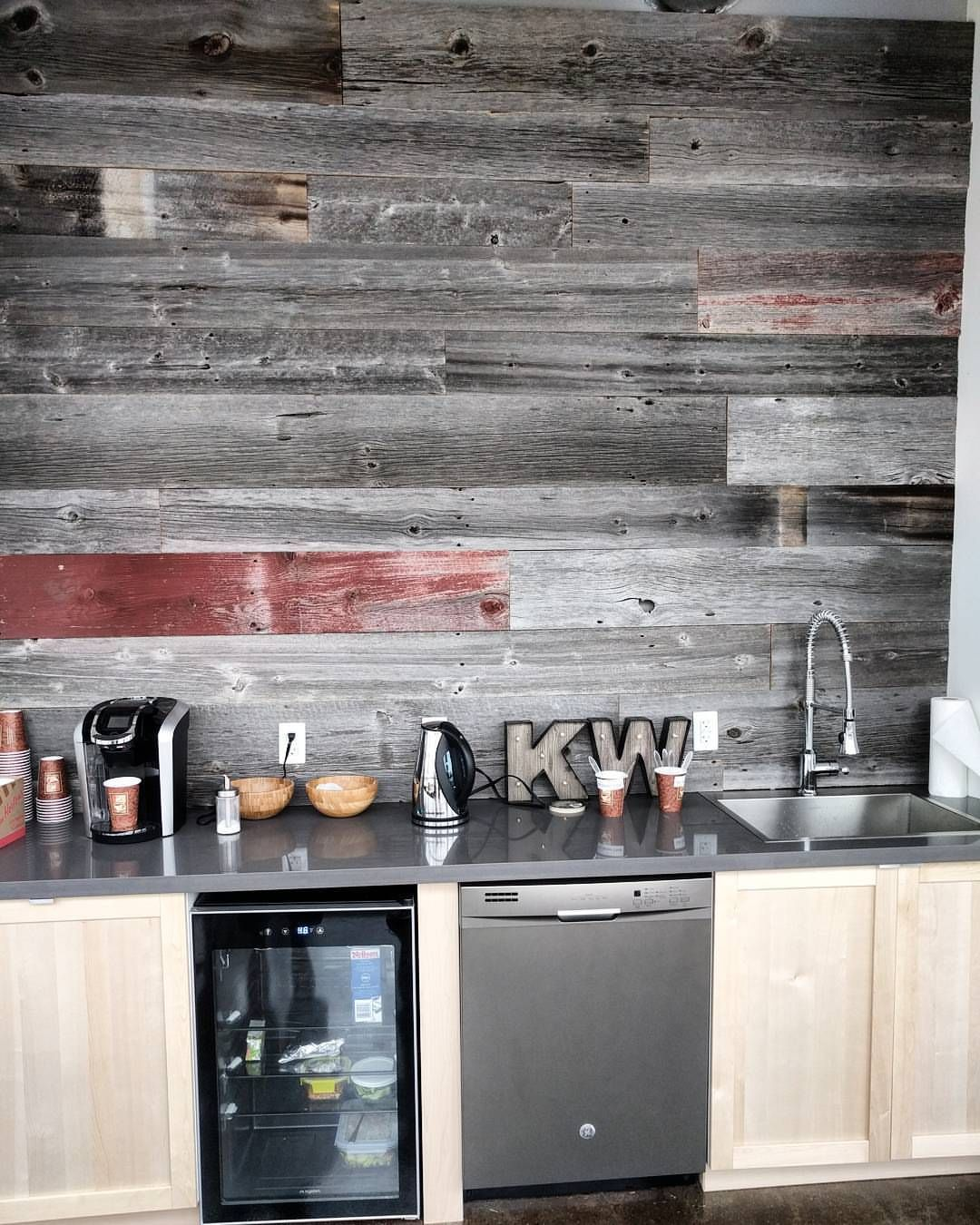 Reclaimed barn board feature wall we installed for Keller ...