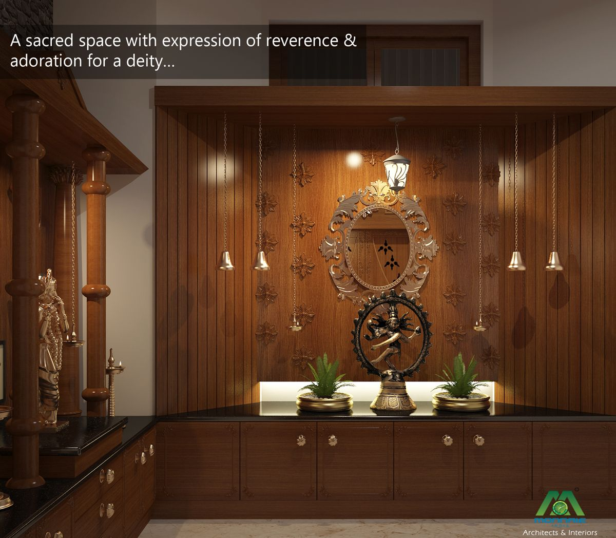 Interior Design For Kitchen In Kerala: A Sacred Space With Expression Of Reverence & Adoration For A Deity... Visit Us: Www.monnaie.in