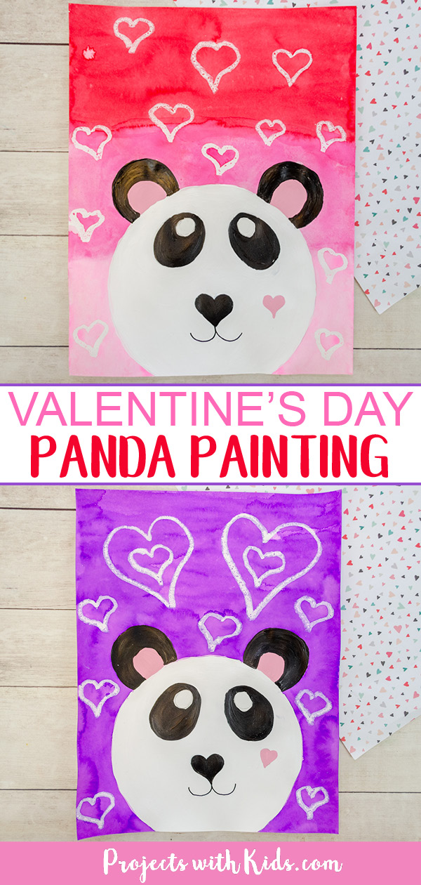 Kids will have fun making this cute and colorful panda art project for Valentines Day using a mixed media approach Step by step tutorial included It is possible to not su...