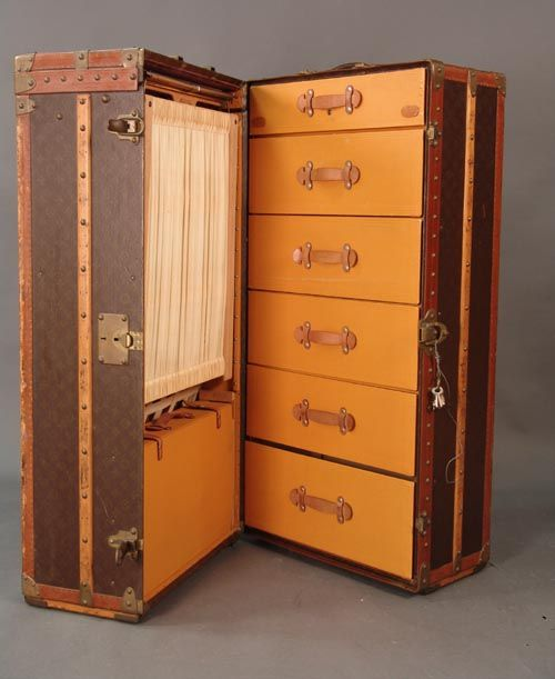 realized price 7 475 00 louis vuitton malle armoire trunk with leather