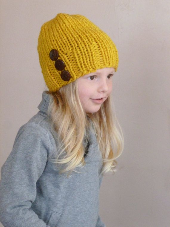 f6799728ec0 Toddler Slouch Hat Mustard Yellow Three Natural Coconut Buttons ...