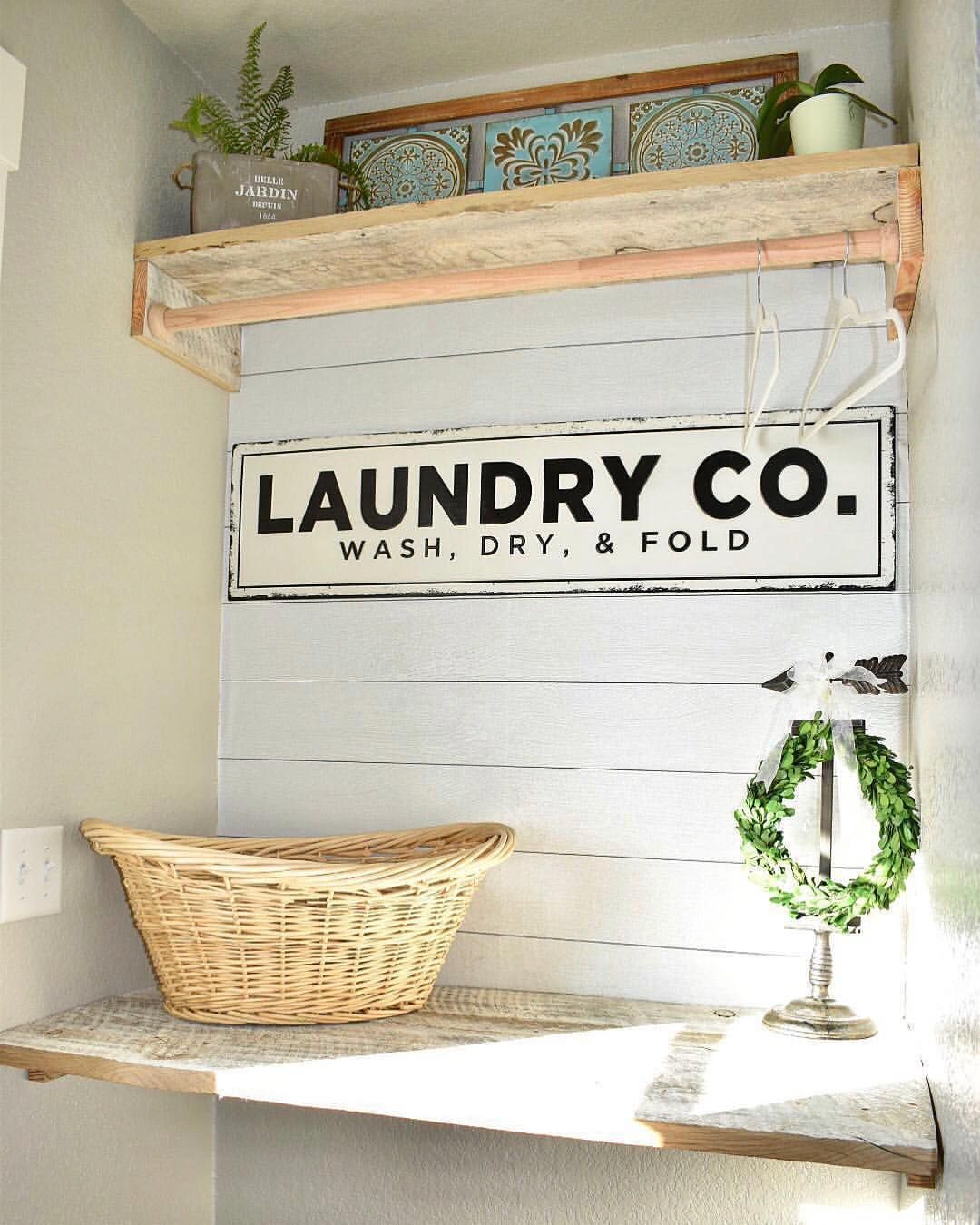 1 755 Likes 15 Comments Kirkland S Kirklands On Instagram Babbfarmlife Gave Her Laundry Room A Facelift With Ou Laundry Room Faux Shiplap Wall Plaques
