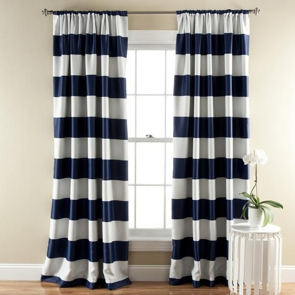 Stripe Blackout Window Curtain Set Striped Room