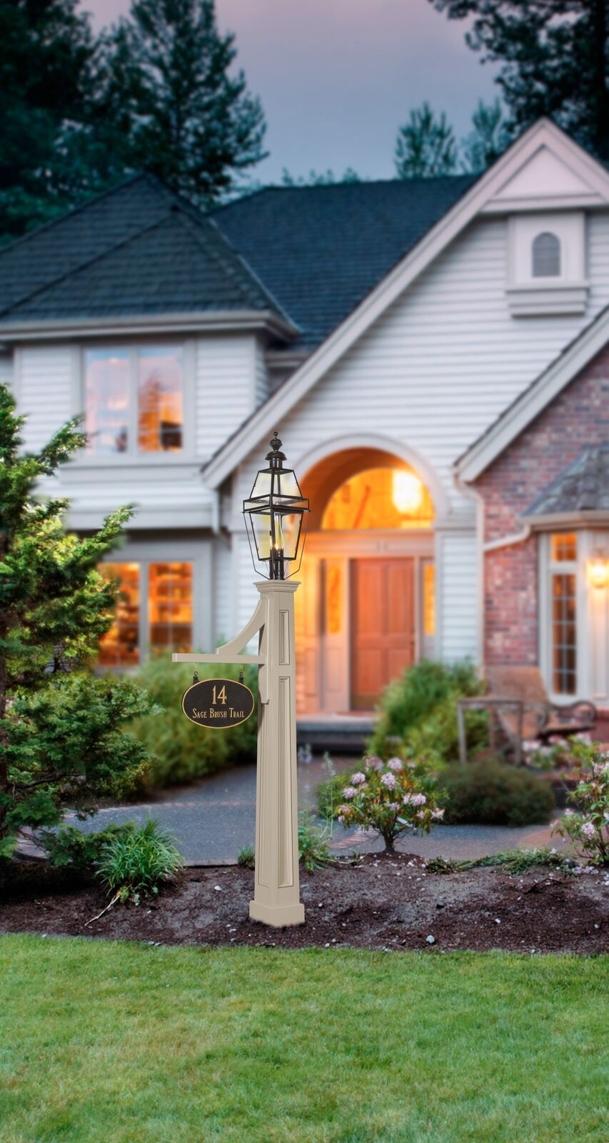 Add Special Decor To Your Landscape With Our Trenton Lantern Post With Beacon Lantern And Oval Address Si Landscaping Inspiration Home Landscaping Lantern Post