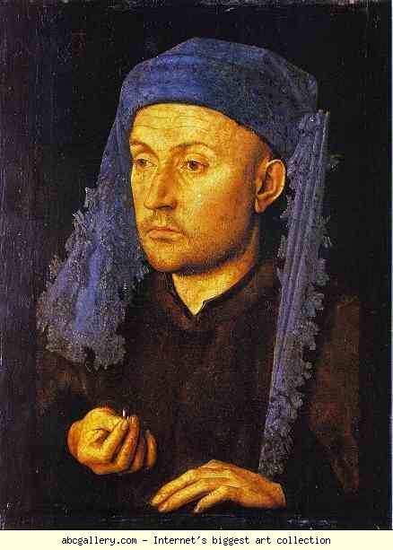 Jan van Eyck. Man in a Blue Turban. 1430-1433. Oil on wood. Art Museum, Bucharest, Romania