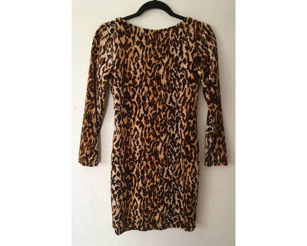 Leopard print dress velvet dress s dress body con dress animal