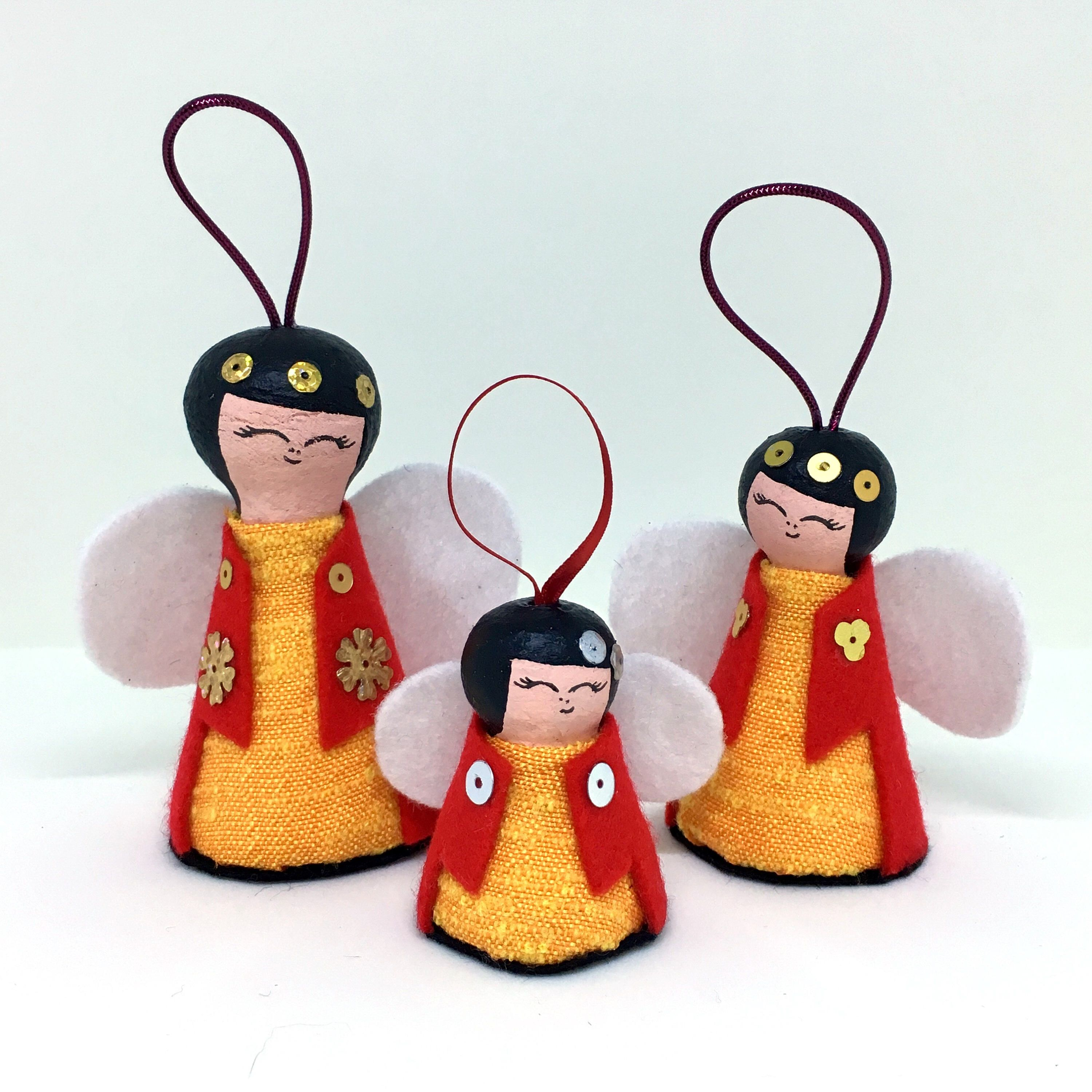 Christmas Angels   Handmade Xmas Tree Decorations Pack Of 3   Quality  Hanging Doll Decoration By