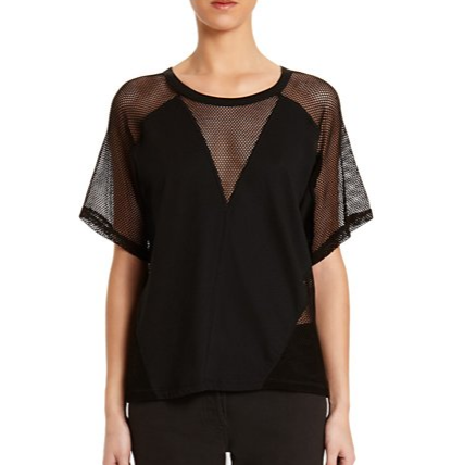 Cotton Netting Combo Tee by T by Alexander Wang