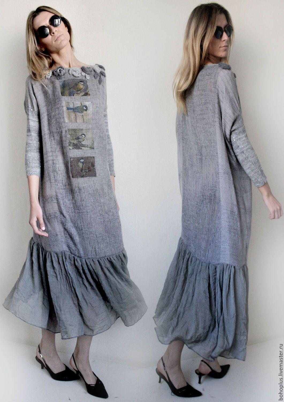"""Купить Платье в стиле бохо """"Утро туманное"""" - серый, однотонный, платье в пол, бохо"""