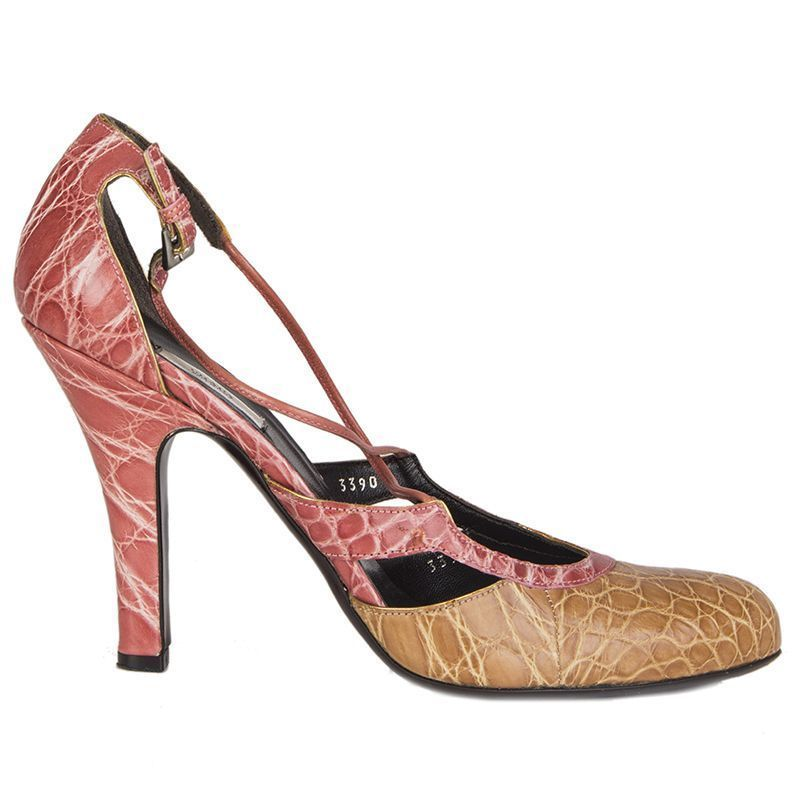 302fb166fa 55042 auth PRADA pink & beige CROCODILE Mary-Jane Pumps Shoes 40 #fashion # clothing #shoes #accessories #womensshoes #heels (ebay link)