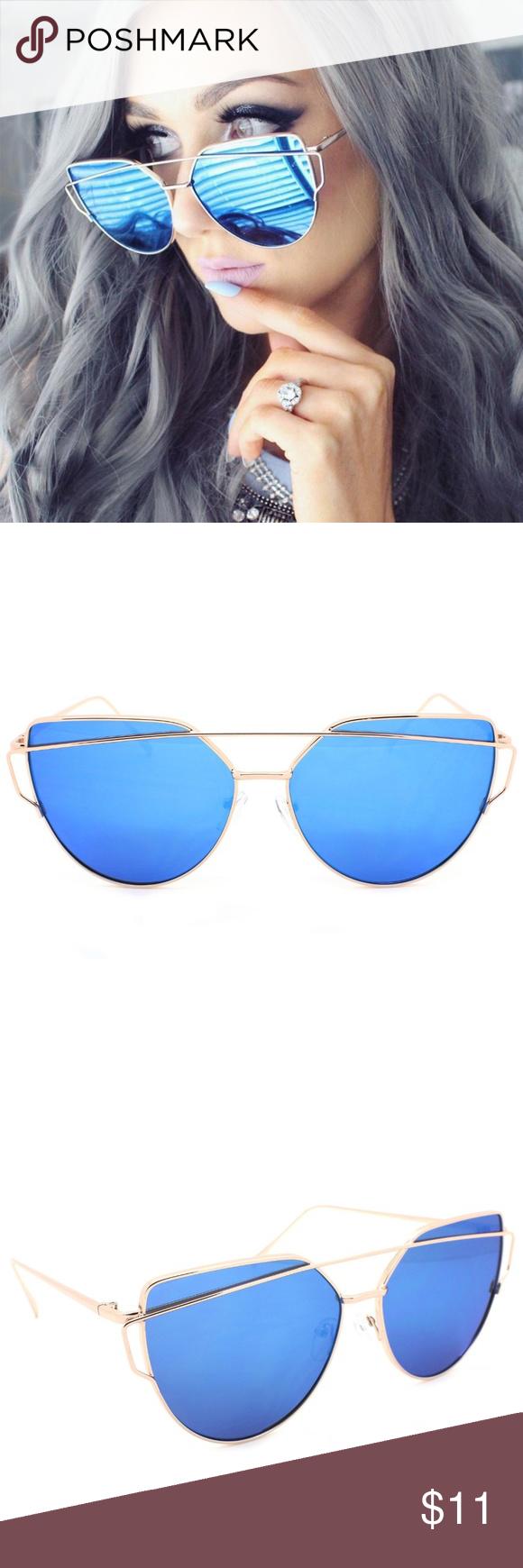 Large Cat Eye Sunglasses Blue Flat Mirrored Lens Large Oversized Cat Eye Sunglasses Flat Blue Mirrored Lens Metal Frame Women Fashion Cat Eye Sunglasses Blue Flats Sunglasses