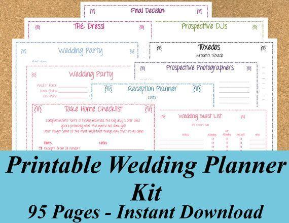 Printable Wedding Planner, INSTANT DOWNLOAD, Ultimate Wedding