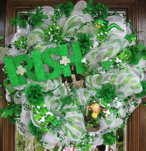 deco mesh st patrick 39 s day wreath wreaths saints and etsy. Black Bedroom Furniture Sets. Home Design Ideas