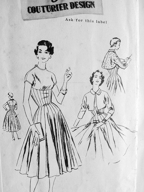 1950s BEAUTIFUL GORED FITTED FLARED DRESS, BOLERO JACKET PATTERN PURE FLATTERY VOGUE COUTURIER DESIGN 794