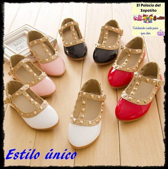 size 40 e54eb 069c4 Nueva moda niños señora niñas princesa zapatos PU cuero niño bebé  bajo-Talón niños mary jean zapatos remaches zapatillas