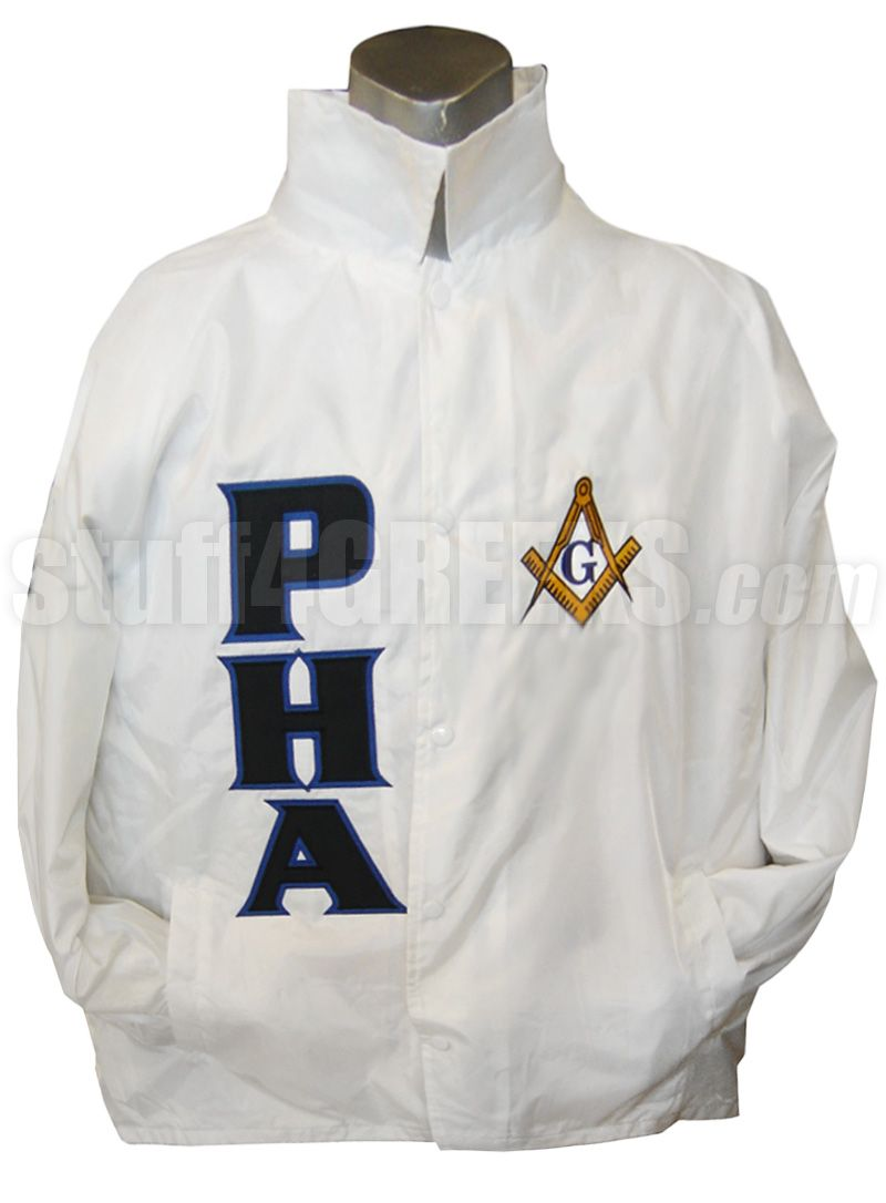 Prince Hall Mason Square Amp Compass Line Jacket White Item