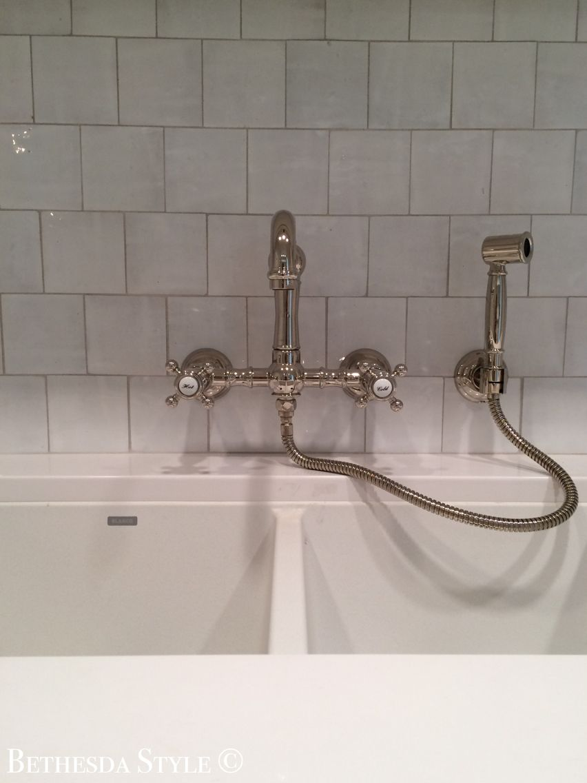 Bethesdastyle Laundry Room Wall Mount Nickel Faucet With Sprayer By Rohl The Banks Development Company Laundry Room Organization Faucet Kitchen Faucet