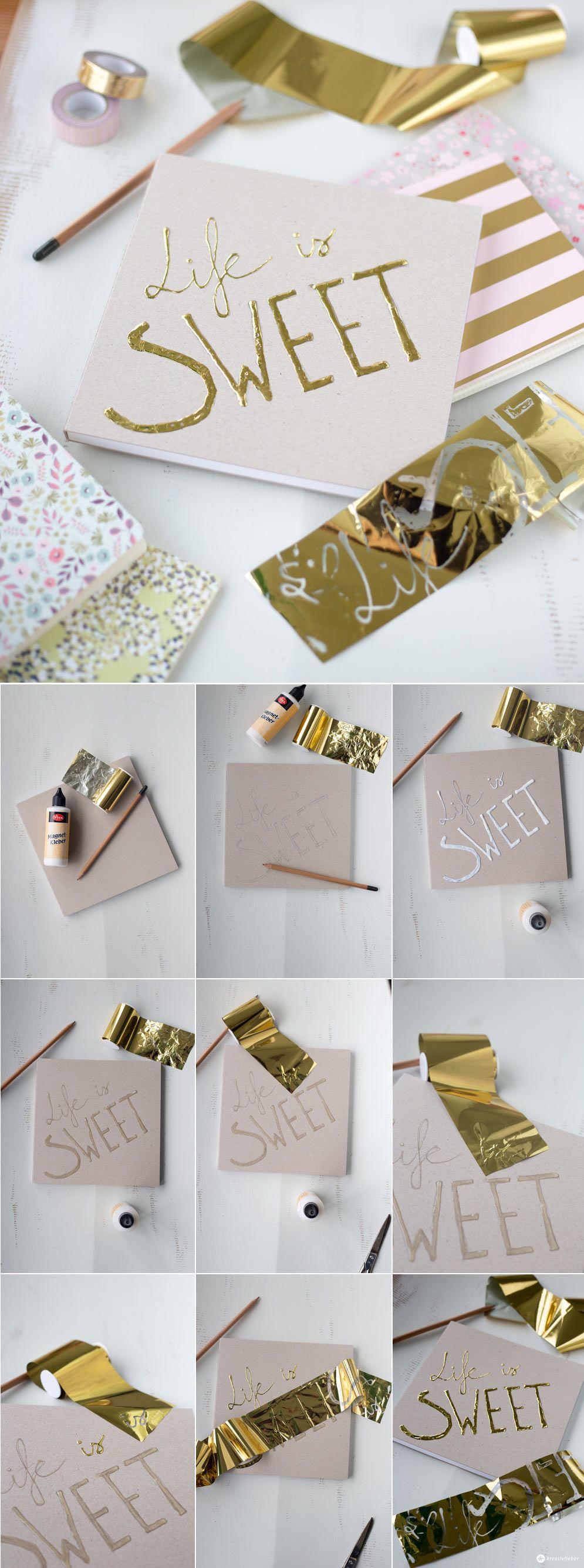 diy geschenkidee rezeptbuch mit goldschrift selbermachen diy geschenkideen pinterest. Black Bedroom Furniture Sets. Home Design Ideas