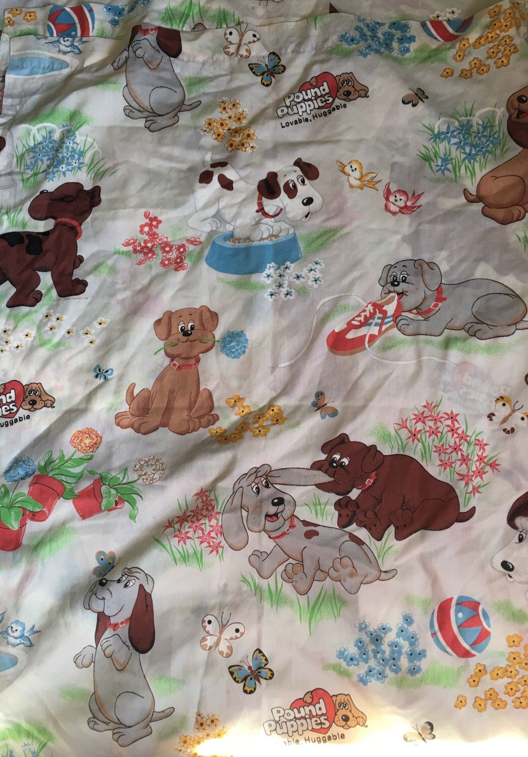 Vintage pound puppies twin flat sheet by bibb 1980s cartoon