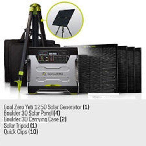 Goal Zero Yeti 1250 Solar Generator Kit With Cart 4 Boulder 30 Solar Panels 2 Panel Carrying Cases 1 Solar Tripod Hol Goal Zero Solar Generator Solar