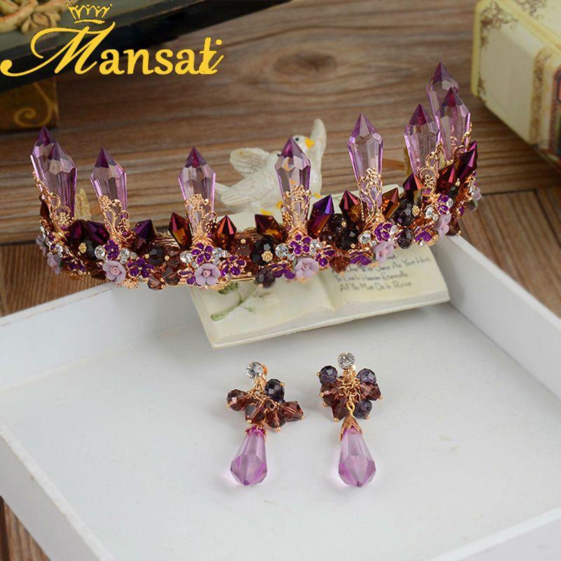 Aliexpress Buy Mansati Handmade Baroque Purple Coral Crown Wedding Bridal Jewelry Sets Tiaras